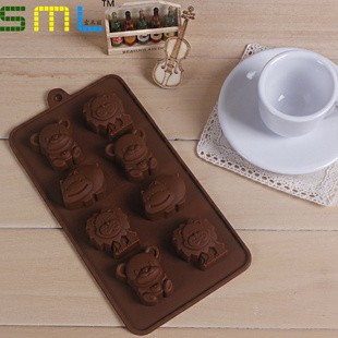 Cetakan kue / puding / cokelat / es batu motif beruang singa dan kuda nil (8 kotak)