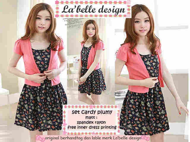 set cardy plumy - free iner mini dress bunga - supplier baju murah hijab  gamis blouse kaos reseller dropship ecer c58b9464b1
