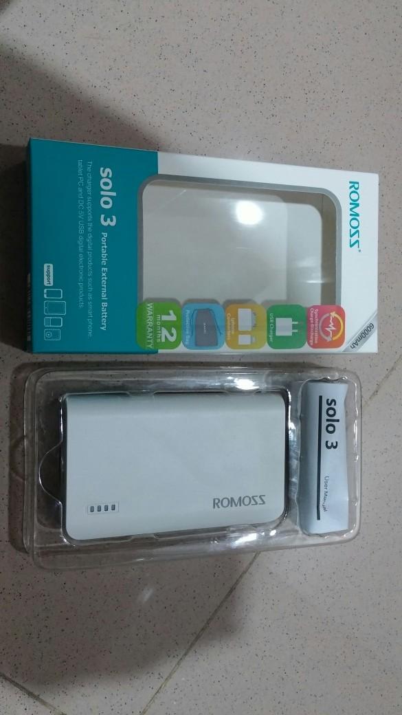 Power Bank Romoss solo-3 6000 mah putih