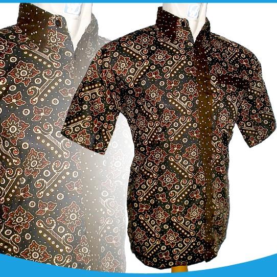 Jual Kemeja Batik Warna Coklat Baju Batik Lengan Pendek
