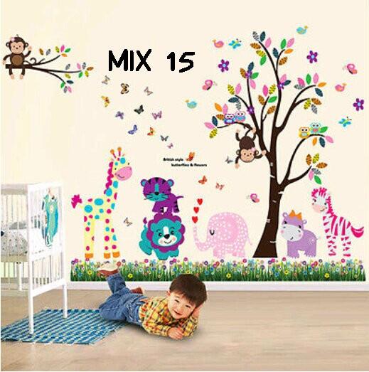 jual wall sticker mix motif stiker dinding - kota malang - dina