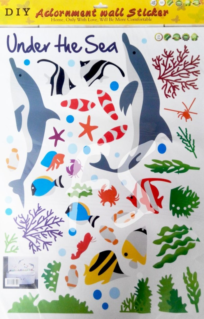 Dolphins in Sea AY752 - Stiker Dinding / Wall Sticker (50x70)