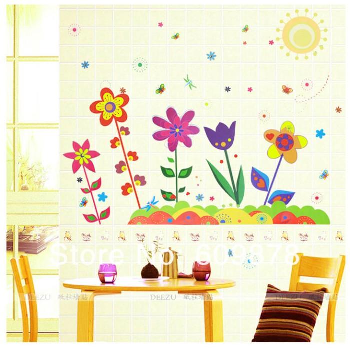 jual bunga kartun warna - wall sticker / stiker dinding plastik
