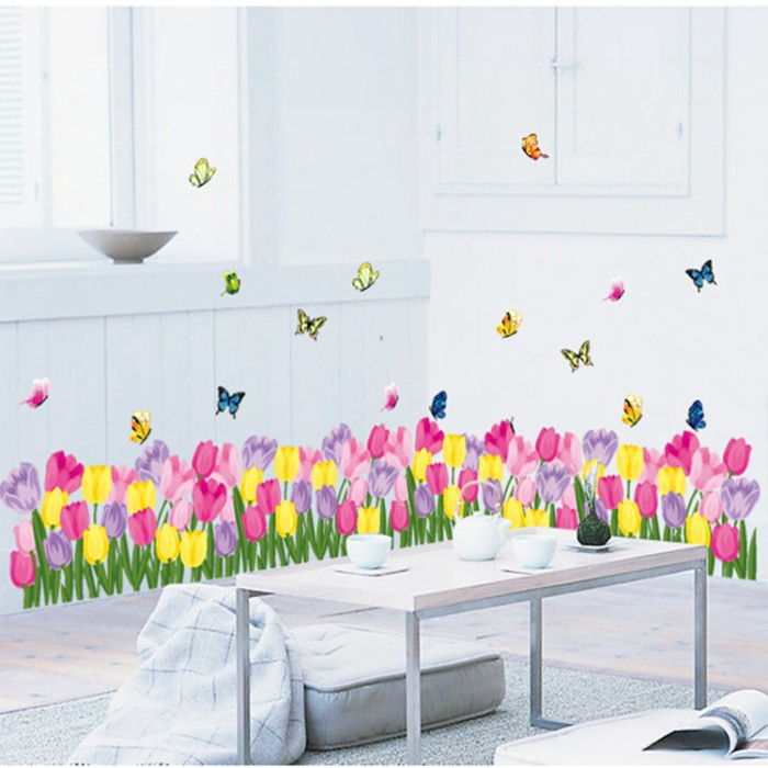 wall sticker 50×70 wall stiker transparan AY7188 COLORFUL TULIP