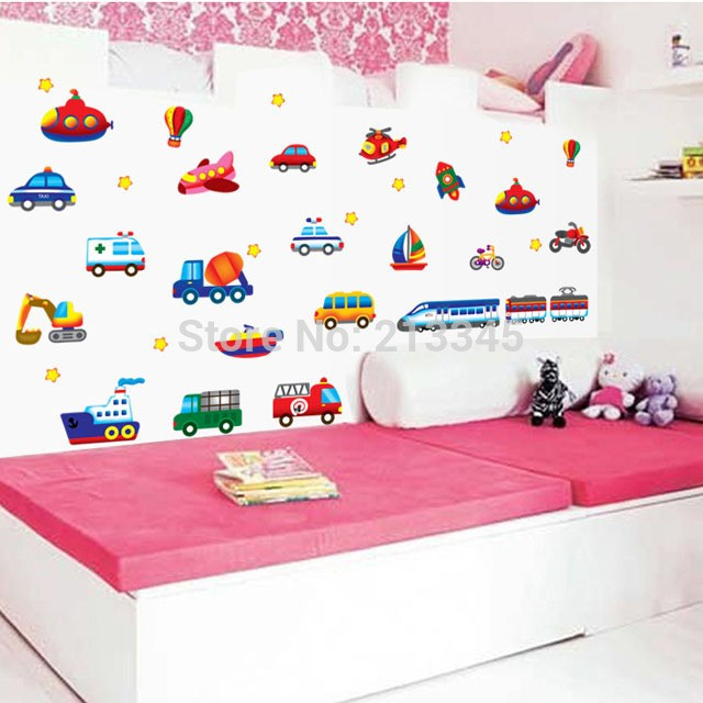 harga Wall sticker 50x70/wall stiker transparan-ay7212-bus, car n plane