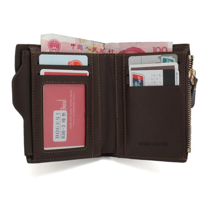 Dompet Kulit Pria bogesi Bisa Untuk Uang Receh - Coklat
