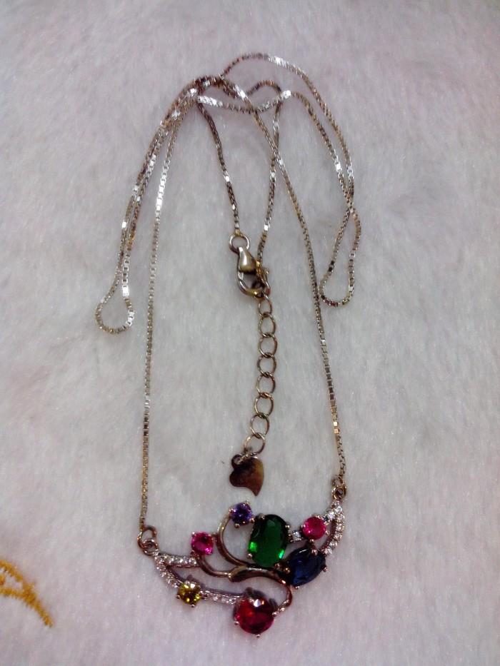 Jual Kalung Perak 925 Lapis Emas Putih 18k + Batu Tourmaline (Desain 1) Harga Promo Terbaru
