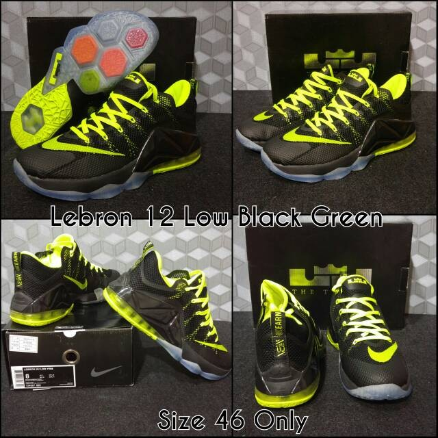 1c19b3c1d57b ... official sepatu basket nike lebron 12 low black green 87054 f5c1f