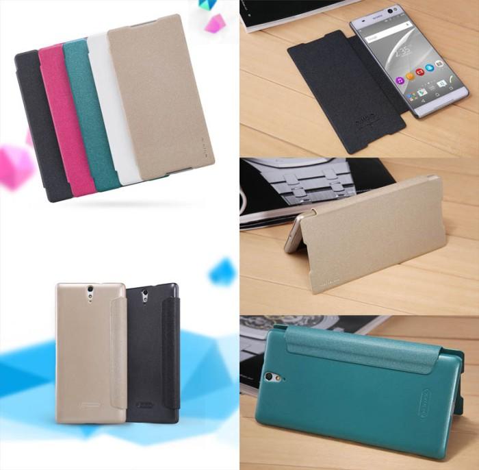 harga Nillkin sparkle leather case sony xperia c5 ultra flip cover Tokopedia.com