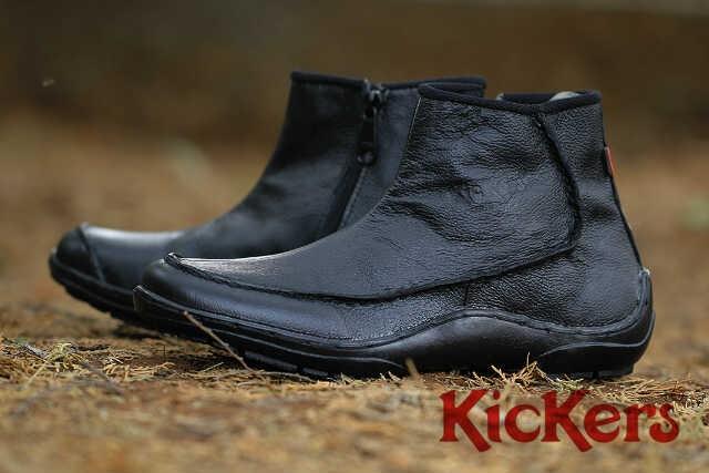kickers zipper new black leather Sleting hitam kulit asli