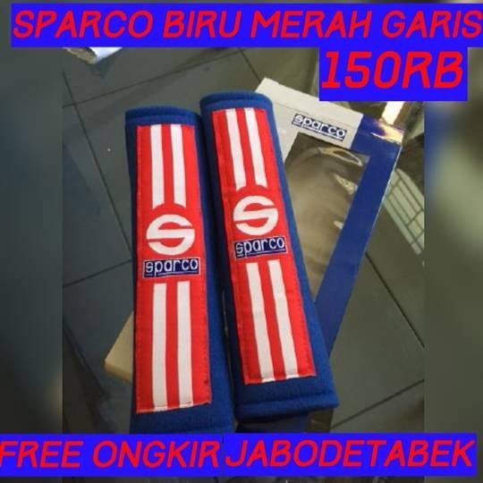 COVER SEAT BELT SPARCO BIRU MERAH GARIS