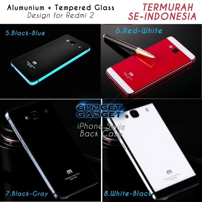 Aluminium Tempered Glass Hard Case for Xiaomi Redmi 2