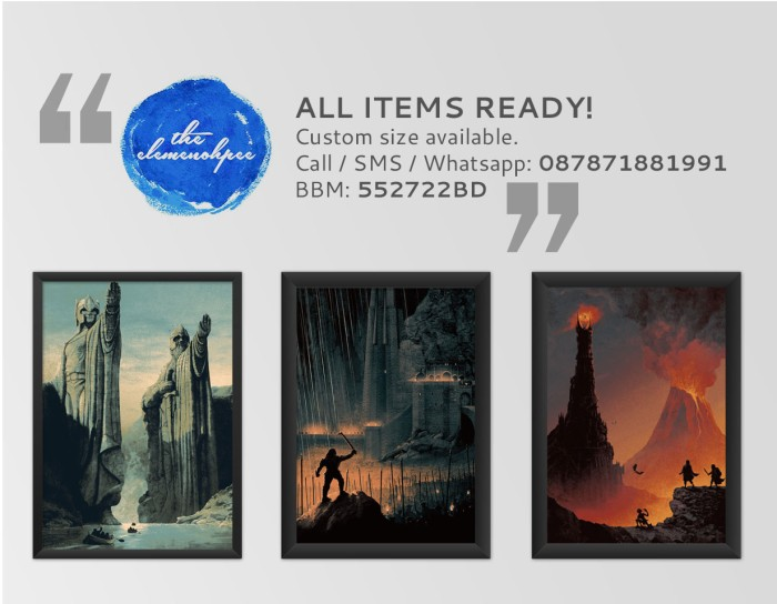 harga Poster set / paket poster: lord of the rings trilogy [40x60cm] Tokopedia.com