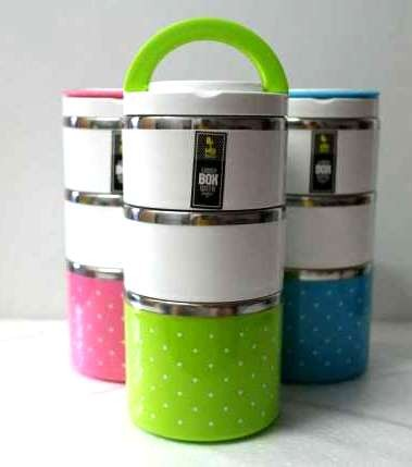 ... harga Rantang makanan bekal stainless lunch box 3 susun polkadot kotak makan Tokopedia.com
