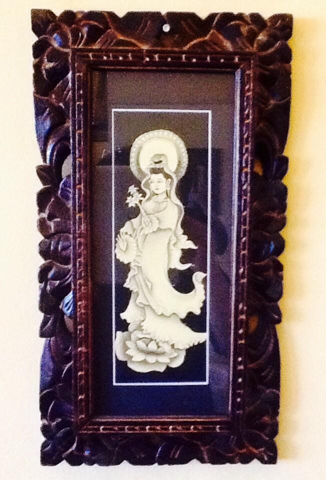 Lukisan dewi kwan im handmade (real handmade painting kwan im frame)