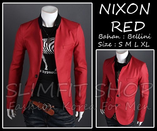 harga Blazer nixon red - jas semi formal korea casual trendy keren murah Tokopedia.com