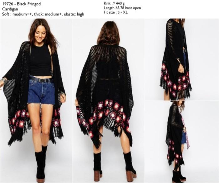 Cardigan Import, Black, Fringed, Knit, Lookbook, Premium