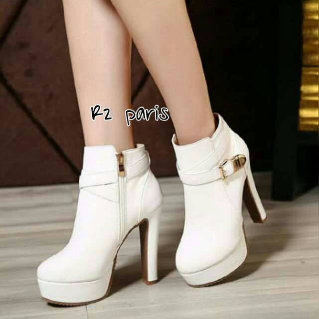 High heel boots white zed