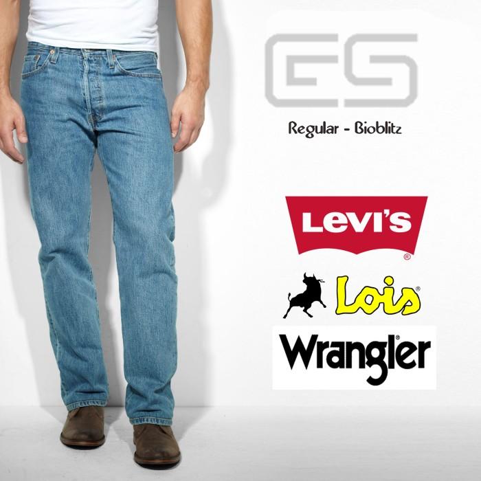 Celana jeans pria reguler big size Bioblitz/biru muda Levis - Wrangler