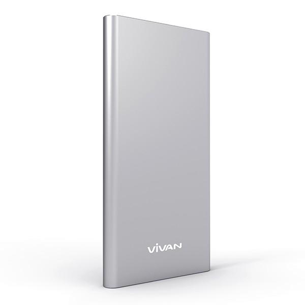 Vivan Power Bank Super Slim Li-Ion Polymer 5000 mAh Type B5- Silver