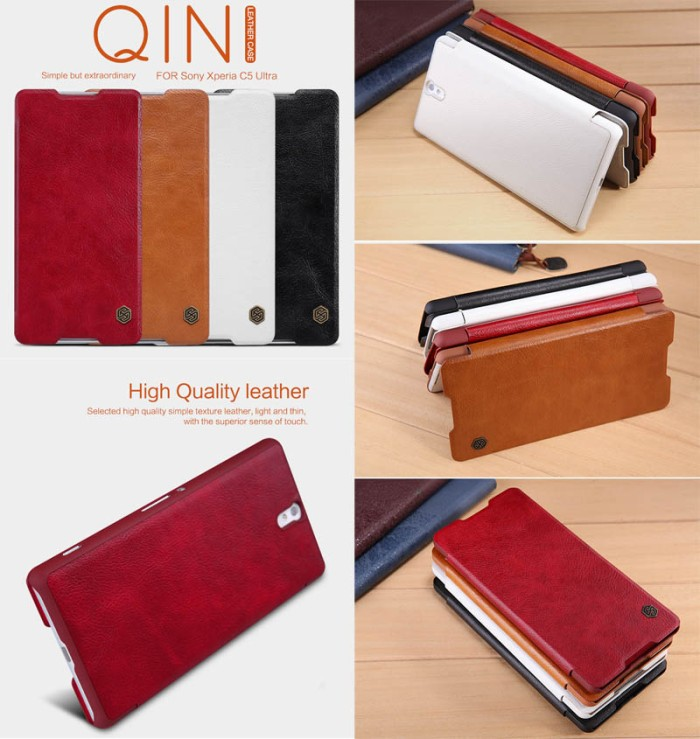 harga Nillkin qin leather flip cover casing case kulit sony xperia c5 ultra Tokopedia.com