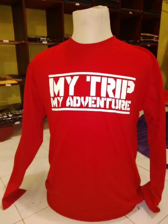 Kaos Distro Natgeo My Trip My Adevnture - Lengan Panjang Merah