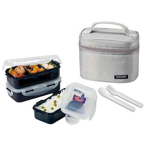 Lock N Lock HPL754DG Lunch Box 3P SET W/Gray Bag