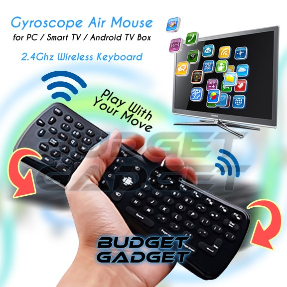Foto Produk 2.4Ghz Wireless Gyroscope Air Mouse Keyboard for PC/Smart TV/Android dari BudgetGadget