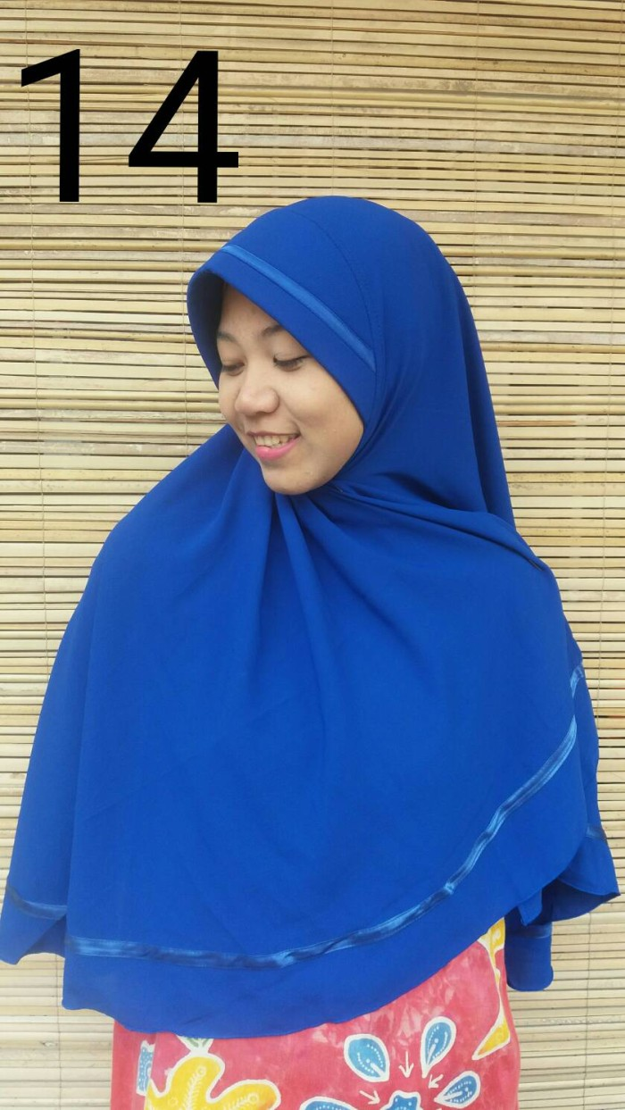 Jual Hijab Instan Wolfis Jilbab Wolvis Khimar Wolpeach Biru Kerudung Benhur