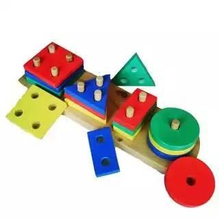 Foto Produk Geometri 4 bentuk, mainan edukatif edukasi anak kayu SNI murah dari Edukasi Toys