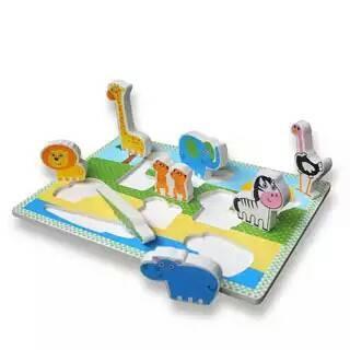 Foto Produk Chunky Puzzle Binatang safari, mainan edukatif edukasi anak kayu balok dari Edukasi Toys