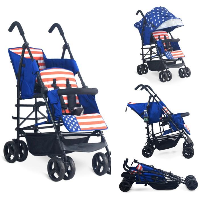 harga Tandem twin double tandem baby stroller tinyworld blue biru twduo-l Tokopedia.com