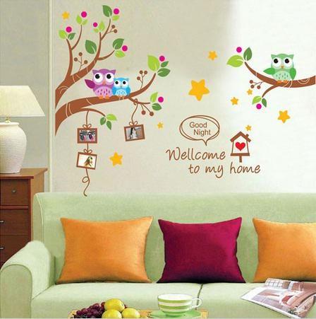 jual owl frame xy1159 - stiker dinding /wall sticker - kota