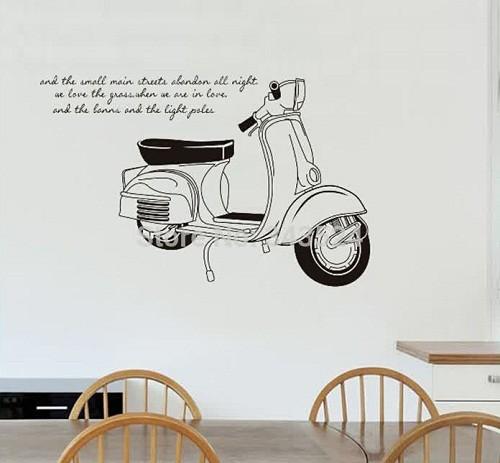 jual classic vespa jm7161 - stiker dinding /wall sticker - kota