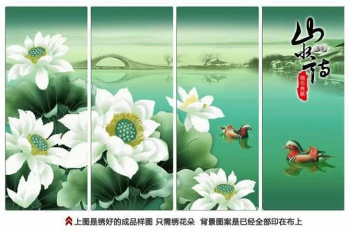 Jual Paket Kristik Cross Stitch 3d Bunga Teratai Pemandangan
