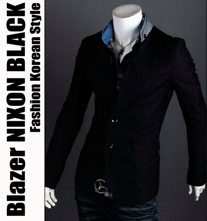 harga Blazer nixon black - jas pria cowok semi formal korean style casual Tokopedia.com