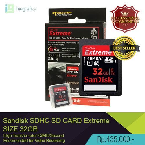 harga Sd card / sdhc sandisk extreme 32gb recomended for dslr film maker Tokopedia.com