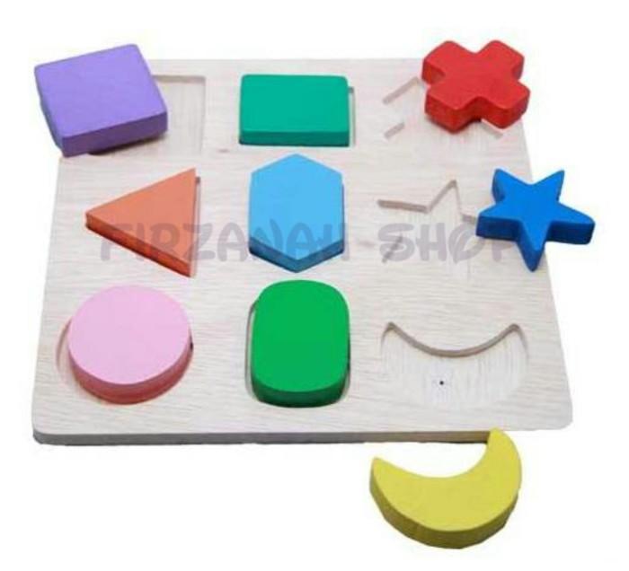 Mainan kayu sni / mainan kayu edukatif / puzzle geometri 9 timbul