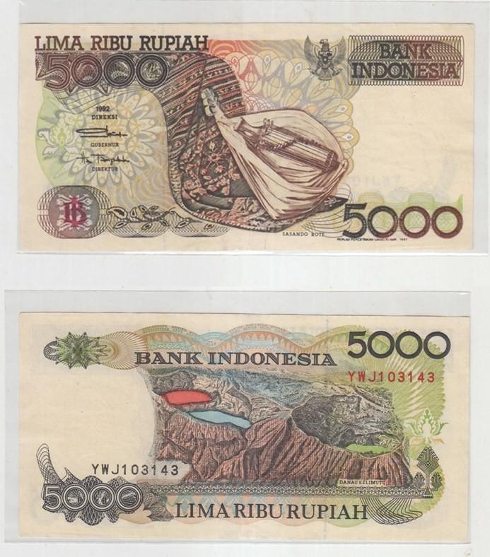 Uang Kertas Lawas 5000 Lima Ribu Rupiah Sasando Rote Grade Au