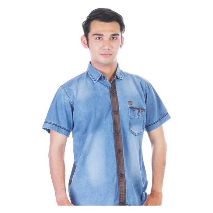 Mucunsanshe tren pria leher bulat kemeja lengan pendek lengan pendek t-shirt (Hitam untuk. Source ... Kemeja Pria Jeans Lengan Pendek Biru CXX551 .