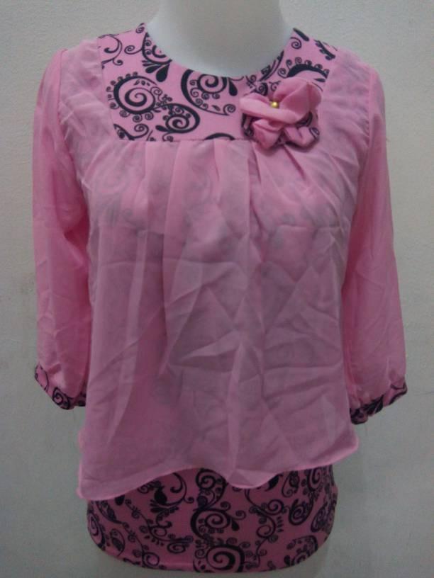 harga Baju lengan 3/4  batik pink sifon Tokopedia.com