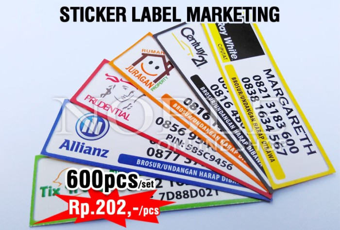 1isi 600 pcs sticker label nama label marketing brosur logo