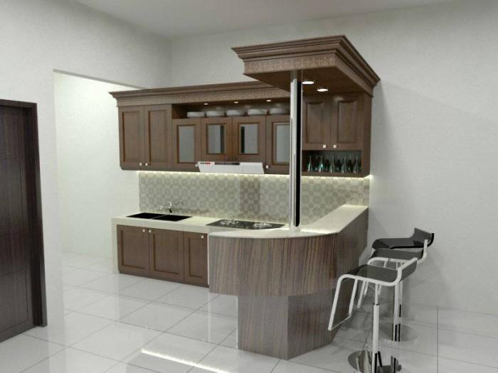 Jual kitchen set jati dan meja bar adha jaya furnitur for Meja kitchen set