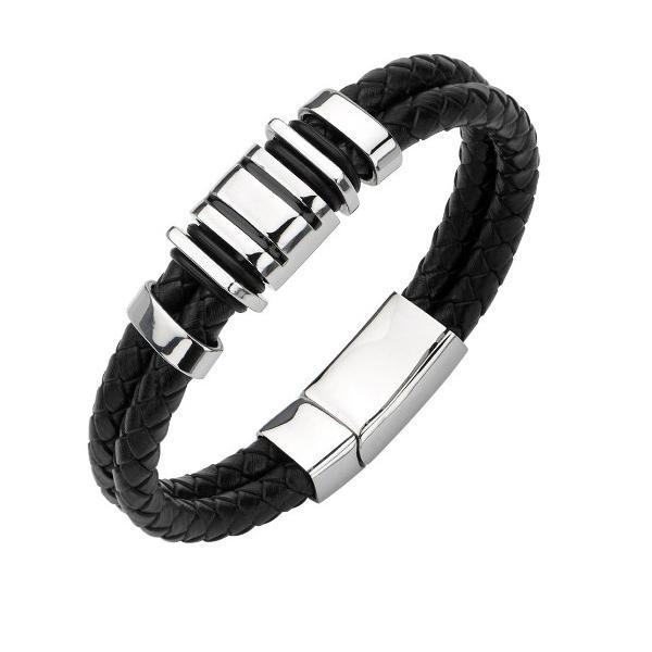 harga Parker leather bracelet titanium steel gelang pria kulit asli hitam Tokopedia.com