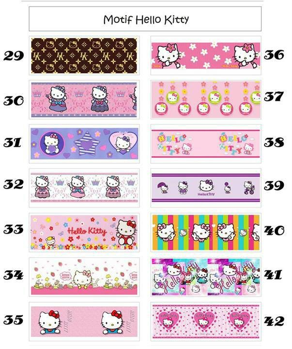jual roll sticker border tembok list hello kitty wallpaper - kota