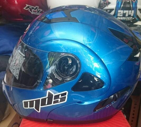 Helm mds modular pro rider biru .