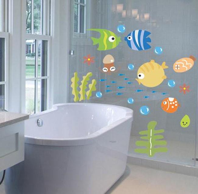 jual wall sticker stiker dinding kamar mandi ikan fish laut warna