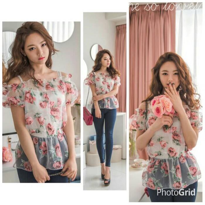 harga Sx6sfab baju atasan sabrina motif bunga peplum baju pantai transparan Tokopedia.com