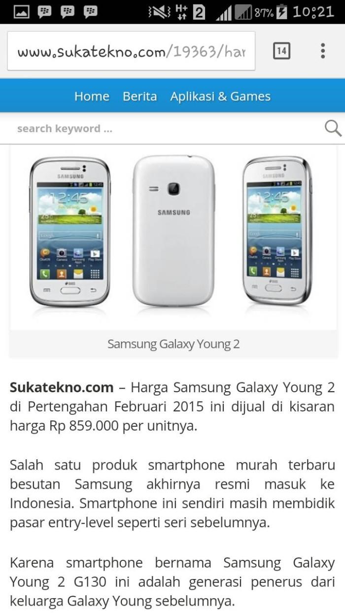 Jual Hp Bekas Handphone Second Samsung Galaxy Young 2 Apa Adanya