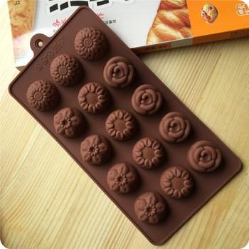 Cetakan coklat puding agar2 bahan silikon motif bunga mix